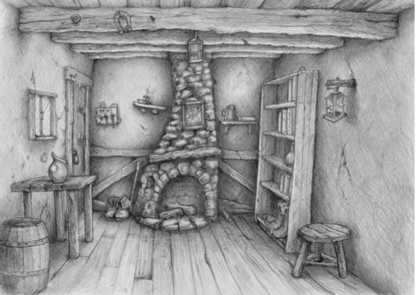 Game artwork pencil scene for finding the coin